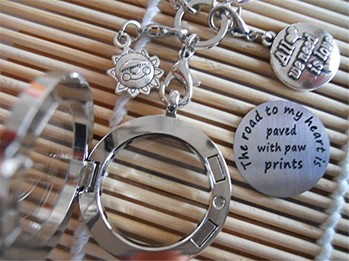 Floating Memory Locket Necklace The Road to My Heart is Paved with paw prints