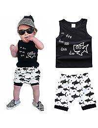 Newborn Baby Boy Girls Summer Shorts Set Shark Sleeveless Tank Top Pants Outfit