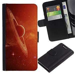 iKiki Tech / Cartera Funda Carcasa - Saturn Rings Red Galaxy Star Cluster Dust Planet - Sony Xperia Z1 Compact D5503