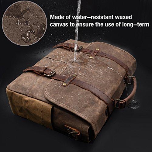 Mens Messenger Bag 15.6 Inch Waterproof Vintage Genuine Leather Waxed Canvas Briefcase Large Satchel Shoulder Bag Rugged…