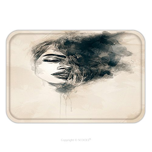 Cat Costumes Face Painted (Flannel Microfiber Non-slip Rubber Backing Soft Absorbent Doormat Mat Rug Carpet Beautiful Woman Face Hand Painted Fashion Illustration 131352833 for Indoor/Outdoor/Bathroom/Kitchen/Workstations)