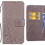 For BlackBerry KEYone (BlackBerry Mercury) Case, Ougger Happy Leaf Printing Wallet Cover Card Slot Premium PU Leather Flip Case Magnetic Bumper Pouch Holster Stand-View Function (Gray)
