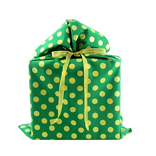 Reusable Christmas Gift Bag with Metallic Accents (Large 20 Inches Wide by 27 Inches High, Green)