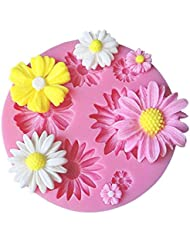 SaSa Design Flower Daisy Mold,Soap Clay Fimo Chocolate Sugarcraft Baking Tool DIY Cake Silicone Mold for Baby Shower Party Cake Decoration (Flower Mold)