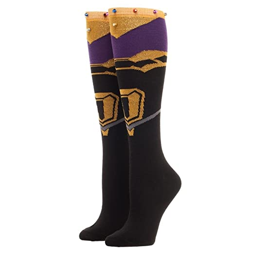 5c0ea1a098a Image Unavailable. Image not available for. Color  Marvel Avengers  Infinity  War Thanos Gauntlet Infinity Gem Knee High Socks