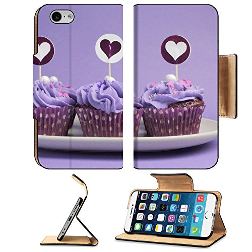 Luxlady Premium Apple iPhone 6 iPhone 6S Flip Pu Leather Wallet Case IMAGE ID: 19475879 Mauve purple decorated cupcakes for children or teens birthday or bachelorette bridal or (Bachelorette Accessories Cheap)