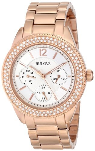 Bulova Women's 97N101 Swarovski Crystal Rose Gold Tone Watch ()