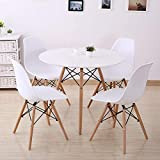 Joolihome Eiffel Dining Table and 4 Chairs Set Wood Style for Office Lounge Dining Kitchen White (round table+chair*4)