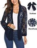Women's Tie Front Lace Shrug Drape Long Sleeve Bolero Cardigan Cover Up Jacket Plus Size(Navy Blue, XXL)