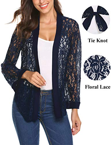 Women's Sheer Lace Shrug Tie Front Cropped Lace Open Front Bolero Cardigan for Evenig Dress (Navy Blue,S)
