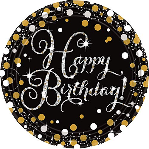 Gold Celebration Happy Birthday Prismatic Paper Plates 23cm Pack Of 8]()