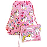 Unicorn Drawstring Backpack and Wristlet (Pink)