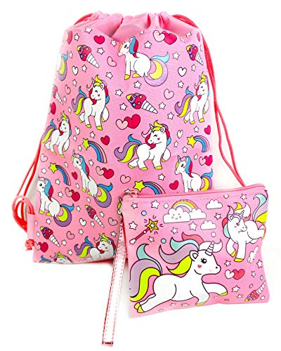 - Unicorn Drawstring Backpack and Wristlet (Pink)