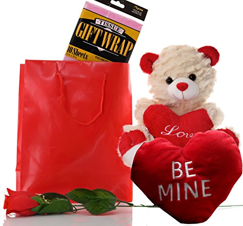 Valentines Gifts for Wife Her - Valentines Day Gift for Girlfriend or Him - Valentine Gifts for Women or Men Boyfriend or Husband Kids - Teddy Bear Paper Bag Tissue Paper Scented Rose and Plush Heart (Valetines Gift For Him)