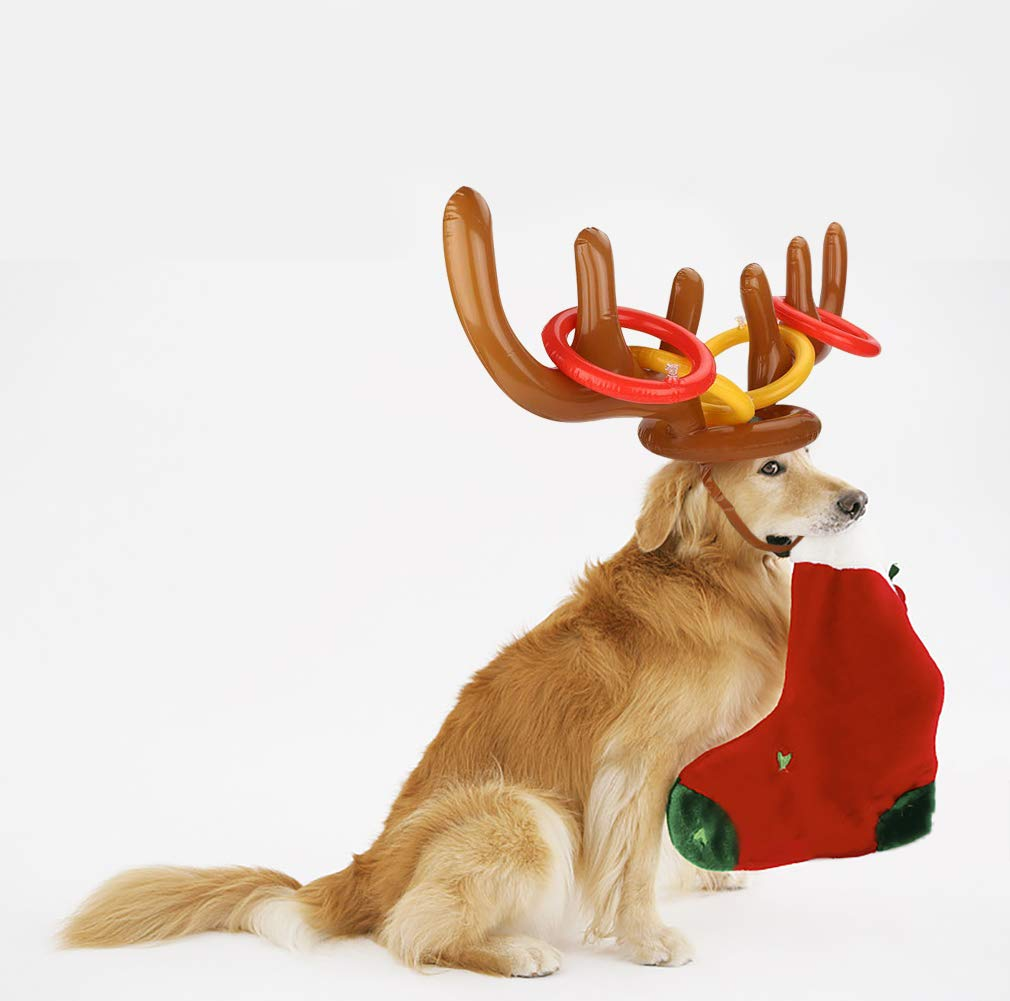 Milaloko 2Pcs Festa di Natale Toss Renna Gonfiabile Natale Antler Cappello con Anelli per Bambini Famiglia Uf