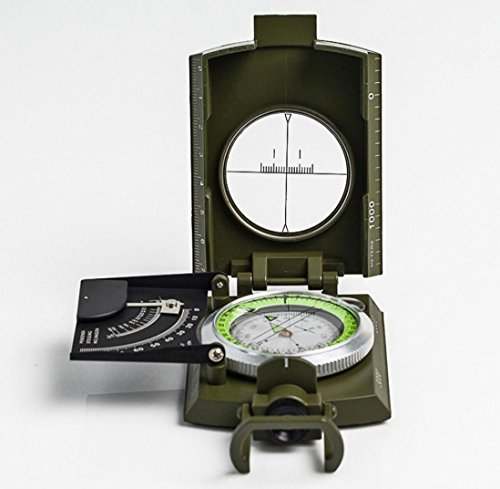 Chartsea Professional Military Pocket Metal Sighting Compass Clinometer Hiking Camping (A) by Chartsea (Image #1)