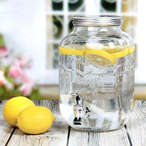 Estilo 1 Gallon Single Glass Beverage Drink Dispenser With Leak Free Spigot, Clear (1 Dispenser Glass Drink Gallon)