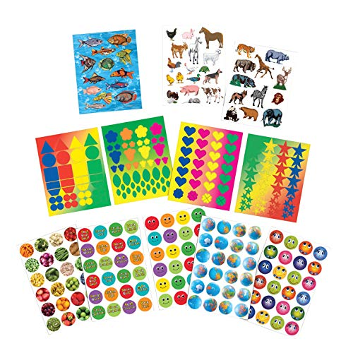 (School Smart Everyday Assortment Sticker Set, 60 Sheets, Pack of 1700)