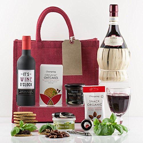 Natures Hampers Cesta Regalo Vino Tinto Italiano de Lujo y Snacks – Caja de Regalo de Vino Tinto – Vino Chianti y Snacks - Set Regalo de Chianti Vino – Regalo para