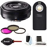 Fujifilm Compact XF 27mm f/2.8 Lens (Black) w/Focus Accessory Bundle