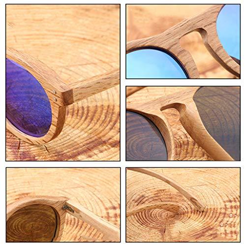Bleu polarisées Femmes Soleil Lunettes Rivets Gris soleil Bambou et Lunettes Rétro de revêtue Bois en en Foncé Couleur Lunettes Hommes Bois Ronde Bambou de Lunettes qBXf8wwZ