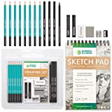 Drawing Set - Sketching and Charcoal Pencils - 100 Page Drawing Pad, Kneaded Eraser. Art Kit and Supplies for Kids, Teens and Adults, Sketch Set: more info