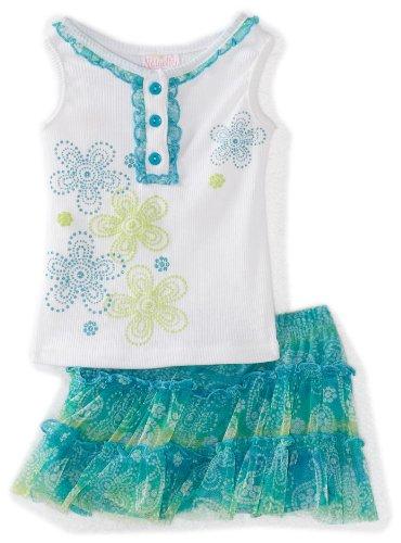 Nannette Baby Girls' 2 Piece Floral Tie Dye Skooter Set, Aqua, 18 Months