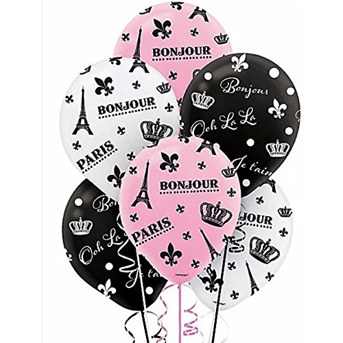 Bridal Shower 'A Day in Paris' Latex Balloons (6ct) (Paris Party Decorations)