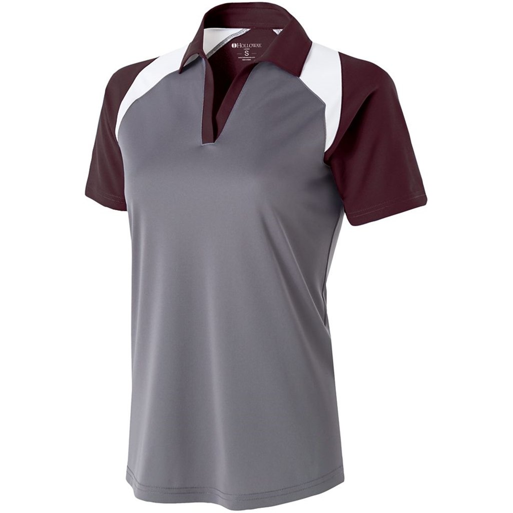 Holloway Ladies Dry Excel Shield Polo (Small, Graphite/Maroon/White) by Holloway