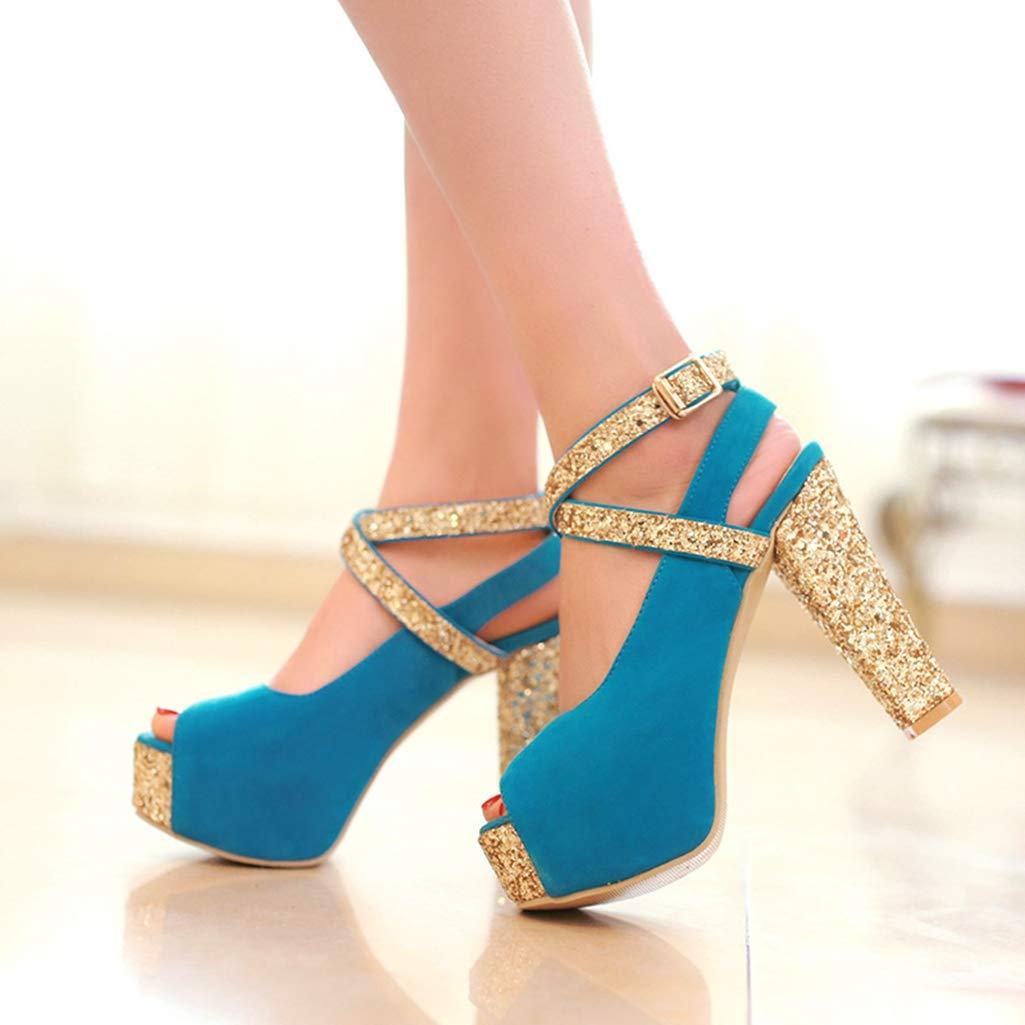 Women's Glitter Platform Peep Toe Ankle Strap Chunky Block High-Heel Blue Sandals - DeluxeAdultCostumes.com