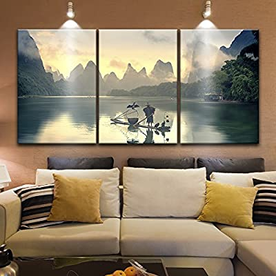Alluring Artisanship, Original Creation, 3 Panel Fisherman on The Boat with Cormorants on Calm River Among Mountains x 3 Panels