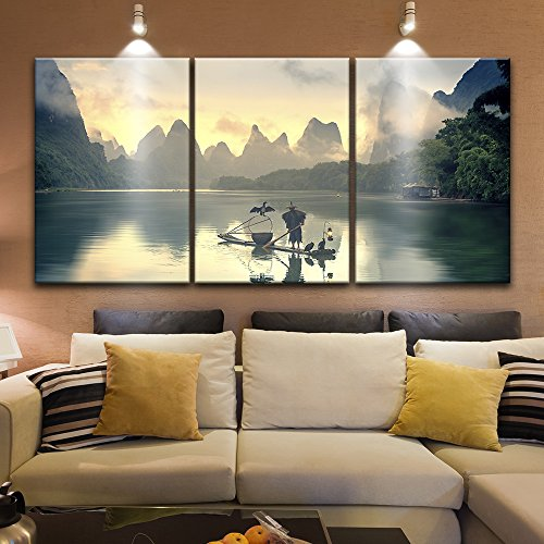 3 Panel Fisherman on The Boat with Cormorants on Calm River Among Mountains x 3 Panels