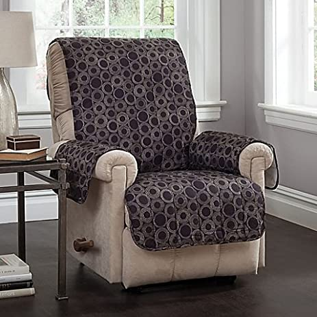 Circles Recliner And Wing Chair Cover In Black L Relaxed Fit Easily Drapes  Over Your Chair