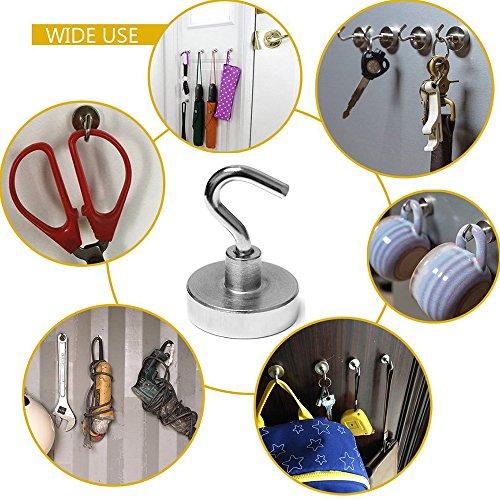 Magnetic Hooks, Strong Heavy Neodymium Hanging Hooks D20 Multi-Purpose Indoor, Outdoor, Kitchen, Bathroom, Bedroom, Garage Lockers, Office, 2 Piece by thE FooD Cop (Image #3)