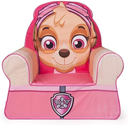 Marshmallow Furniture Comfy Foam Toddler Kid's Chair Armchair for Ages 2 Years Old and Up, Paw Patrol Skye, Pink