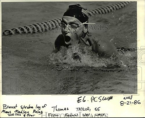 1986 Press Photo Thomas Taylor, 55, competing in Men's Medley Relay - (Male Medley)