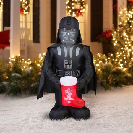 Fun 5' Airblown Inflatable Darth Vader with Stocking Star Wars Christmas Inflatable
