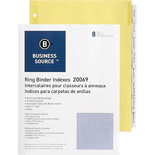 Business Source Ring Binder Index Divider - Set of 8 Tabs - Clear