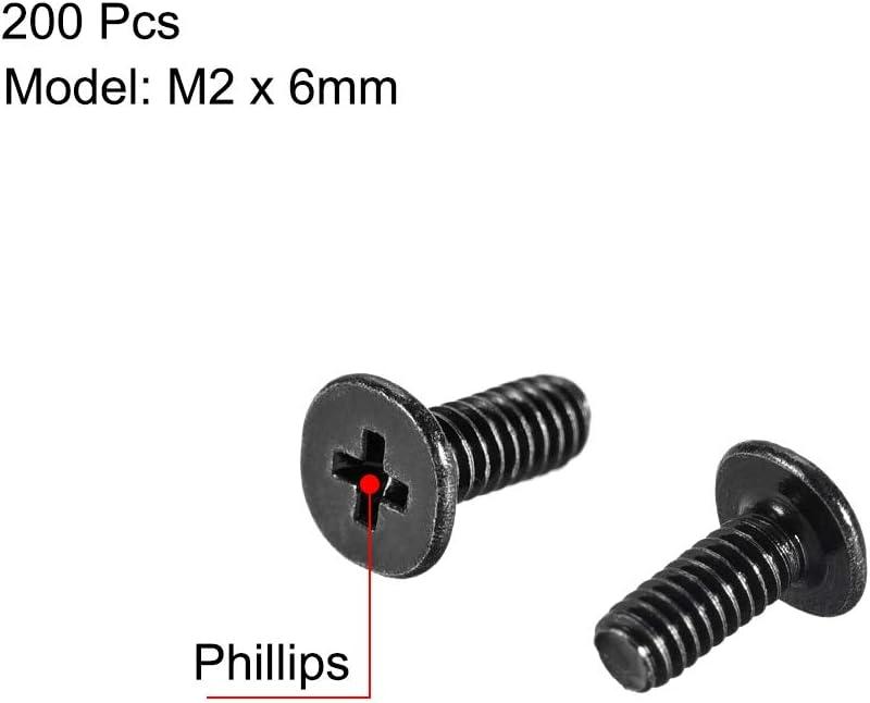 uxcell M2x6mm Phillips Screw Fastener Black for Laptop PC TV Fan Audio Switch 200pcs