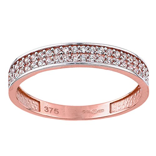 Citerna femme 9 carats (375/1000) Or rose|Gold Rond Blanc Zirkonia FINERING