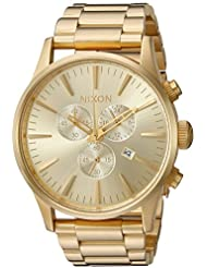 Nixon Mens Sentry Chrono Quartz Stainless Steel Watch, Color:Gold-Toned (Model: A386502-00)