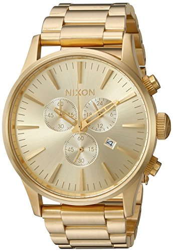 Nixon Men's 'Sentry Chrono' Quartz Stainless Steel Watch, Color:Gold-Toned (Model: - Nixon Gold Watches Mens