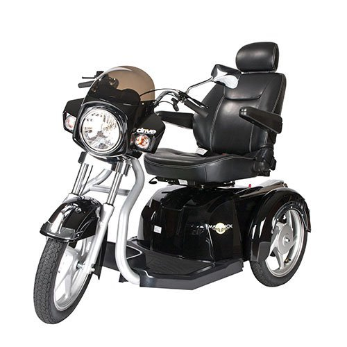 Drive Medical Maverick Executive Three Wheel Power Scooter with Seat, Black, 22 Inch