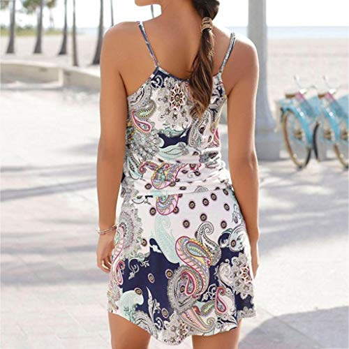 Quelife Dress for Women Casual Bohemia Printed Sleeveless Summer Halter Dresses Girl Ladies for Party (White,M) by Quelife (Image #2)