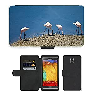 PU LEATHER case coque housse smartphone Flip bag Cover protection // M00130013 Flamencos Birds India Flock Agua // Samsung Galaxy Note 3 III N9000 N9002 N9005