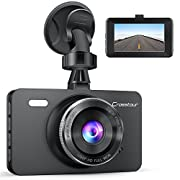 #LightningDeal 66% claimed: Uber Dual Lens Dash Cam Built-in GPS in Car Dashboard Camera Crosstour 1080P Front and 720P Inside with Parking Monitoring, Infrared Night Vision, Motion Detection, G-Sensor and WDR