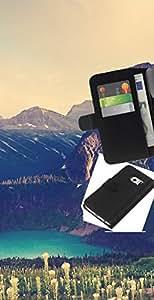 LECELL--Cuero de la tarjeta la carpeta del tirón Smartphone Slots Protección Holder For Samsung Galaxy S6 EDGE -- Gran Acantilado Lago --