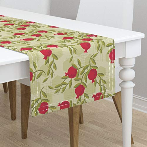 108 Pomegranate - Table Runner - Pomegranate Pomegranate Vintage Fruit Botanical Pomegranate Fruit Pomegranates by Retrorudolphs - Cotton Sateen Table Runner 16 x 108