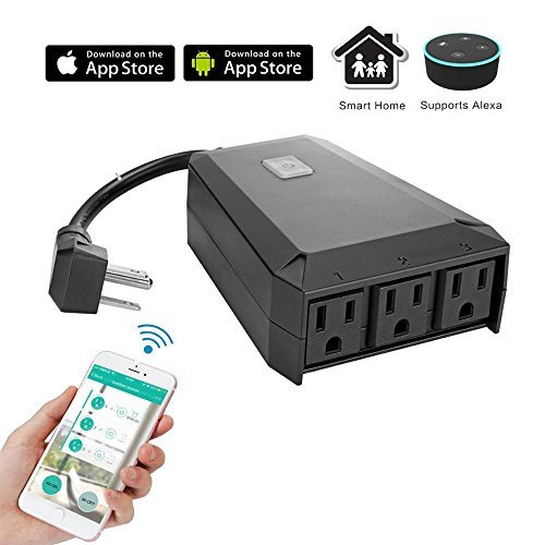 Timer Function by Smartphone APP WeniChen IP44 Waterproof Outdoor Wifi Smart Extension Socket 3 Outlets Power Strip Support Voice Control Compatible with Alexa