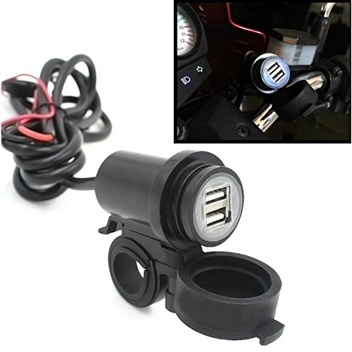 BreaDeep Waterproof Motorcycle Motorbike Dual USB Car Charger Power Supply Port Socket 5V / 2.1A for Cellphones GPS MP3